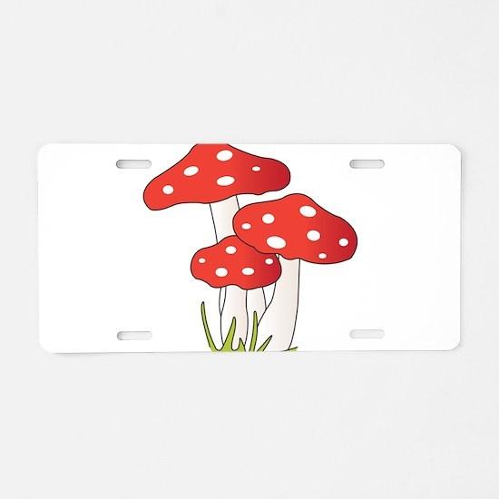 Polka Dot Mushrooms Aluminum License Plate