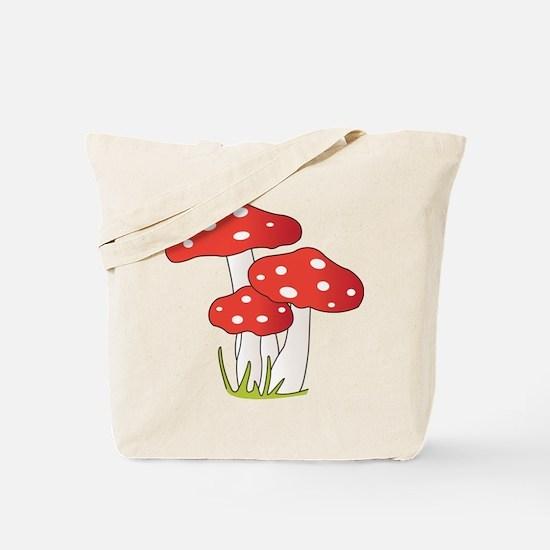 Polka Dot Mushrooms Tote Bag