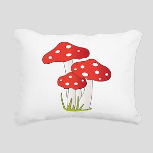 Polka Dot Mushrooms Rectangular Canvas Pillow