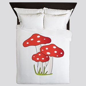Polka Dot Mushrooms Queen Duvet