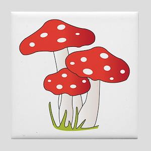 Polka Dot Mushrooms Tile Coaster