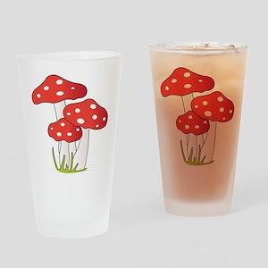 Polka Dot Mushrooms Drinking Glass