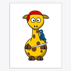 Pirate Giraffe Cartoon Poster Design