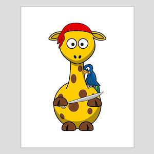 Pirate Giraffe Cartoon Poster Design
