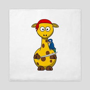 Pirate Giraffe Cartoon Queen Duvet