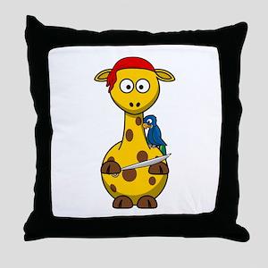 Pirate Giraffe Cartoon Throw Pillow