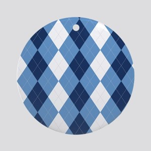 UNC Basketball Argyle Carolina Blue Ornament (Roun