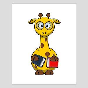 Book Worm Giraffe Cartoon Poster Design