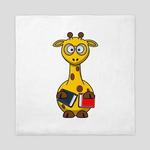 Book Worm Giraffe Cartoon Queen Duvet