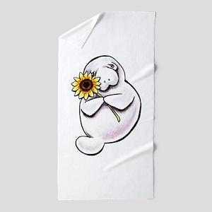 Sunny Manatee Beach Towel
