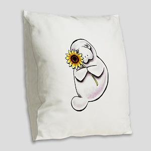 Sunny Manatee Burlap Throw Pillow