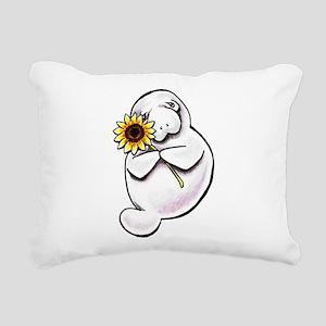 Sunny Manatee Rectangular Canvas Pillow