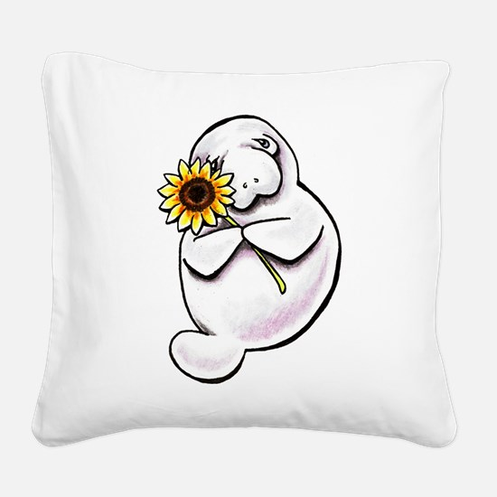 Sunny Manatee Square Canvas Pillow