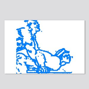 2 MEN PLAYING ON TABLE/BLUE Postcards (Package of