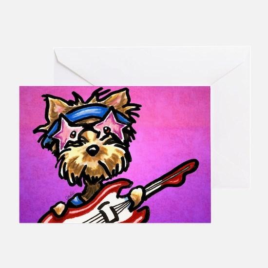 Yorkie Guitar Purple Greeting Cards