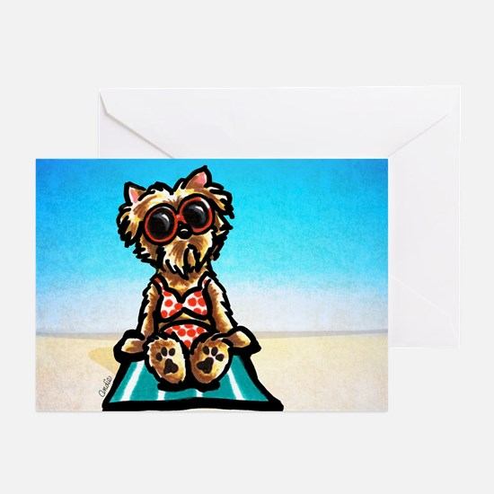 Yorkie Beachside Greeting Cards