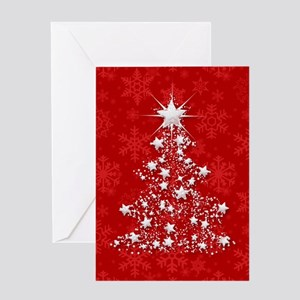 Sparkling Red Christmas Tree Greeting Cards