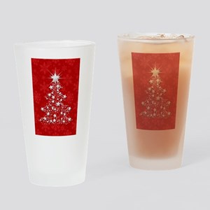 Sparkling Red Christmas Tree Drinking Glass