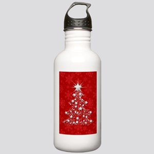 Sparkling Red Christmas Tree Water Bottle