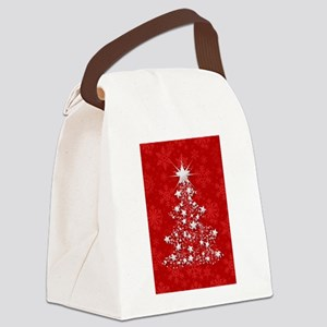 Sparkling Red Christmas Tree Canvas Lunch Bag