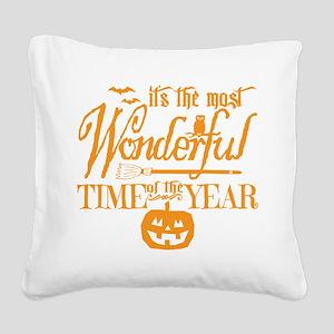 Most Wonderful (orange) Square Canvas Pillow
