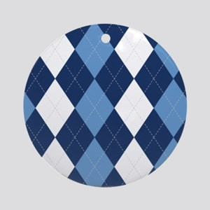 UNC Carolina Blue Basketball Argyle Ornament (Roun