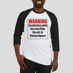 Warning Alcohol Shenanigans Baseball Jersey
