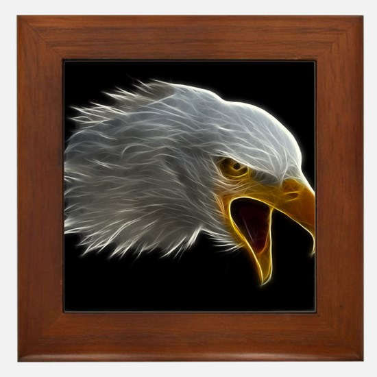 American Bald Eagle Head Framed Tile