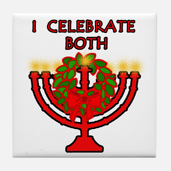 Christmas AND Hanukkah Tile Coaster
