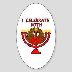 Christmas AND Hanukkah Oval Sticker