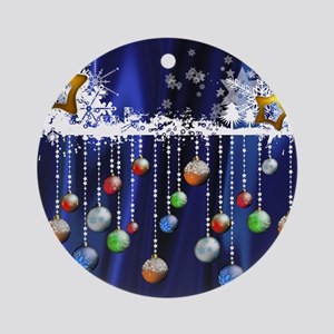 Christmas Baubles on Blue Ornament (Round)
