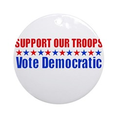 Support our Troops -- Vote De Ornament (Round)