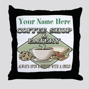 Personalizeable Coffee Shop Throw Pillow