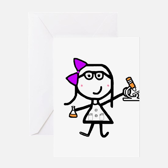 Girl & Microscope Greeting Cards