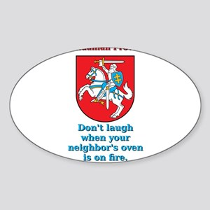 Don't Laugh - Lithuanian Proverb Sticker (Oval