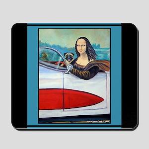 Mousepad Pug Dog & Mona Lisa