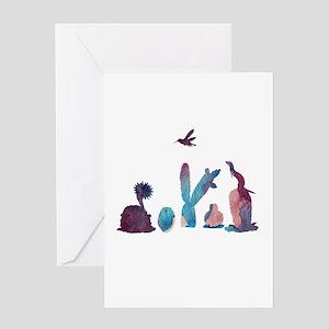 Cacti, ferret, hummingbird Greeting Cards