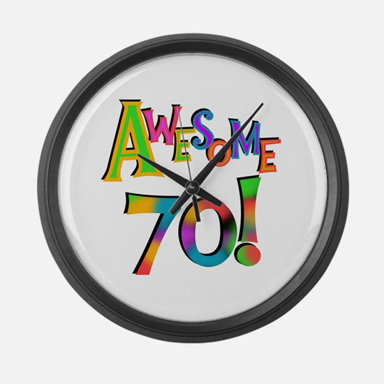 Awesome 70 Birthday Large Wall Clock