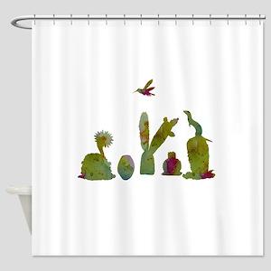 Cacti, ferret, hummingbird Shower Curtain