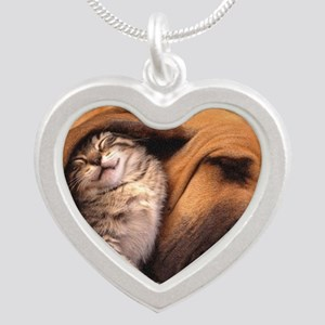 Would a Hug Make Your Day Silver Heart Necklace
