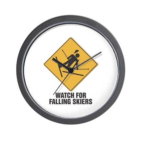 Watch out for Falling Skiers Wall Clock
