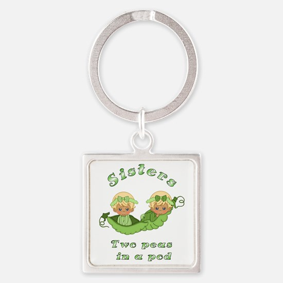 Sisters-Blonde Square Keychain