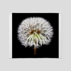 White Dandelion Flower Plant Throw Blanket