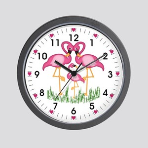 So Sweet Flamingos Wall Clock