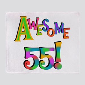 Awesome 55 Birthday Throw Blanket