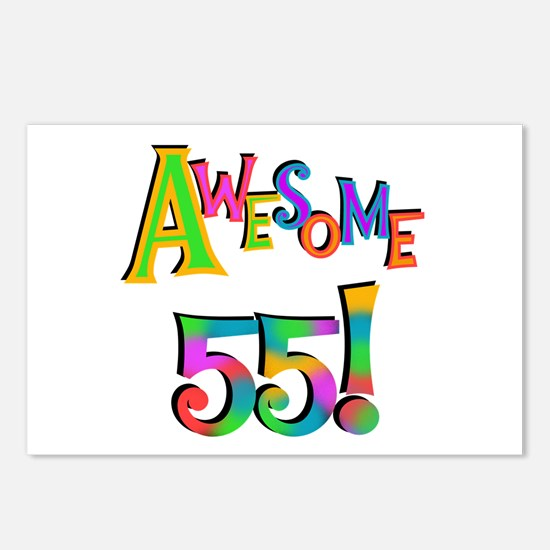 Awesome 55 Birthday Postcards (Package of 8)