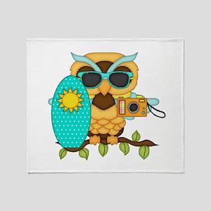 Surfing Boy Owl Throw Blanket