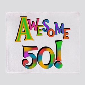 Awesome 50 Birthday Throw Blanket