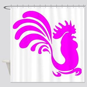 Pink Rooster Silhouette Shower Curtain
