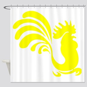 Yellow Rooster Silhouette Shower Curtain